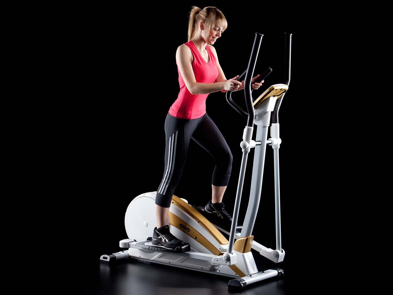 Classes on an elliptical trainer with a tilt of the body forward