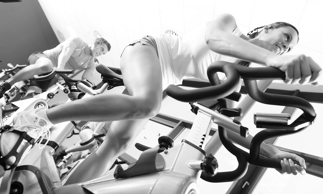 Interval training on an exercise bike