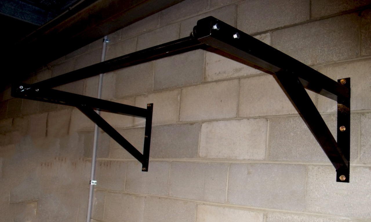 Horizontal bar mounted on the wall